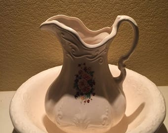 Ironstone Pitcher And Wash Basin 1800s