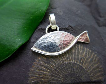 Fish pendant silver hammered fishing sterling silver pendant hammered