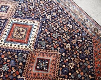 Blue Yalameh Rug, Nomadic Rug, Persian Carpet, Vintage Rug, Persian Rug, Boho Rug, Tribal Rug, Turkish Rug  290 x 200 cm / 9.5 x 6.5 ft