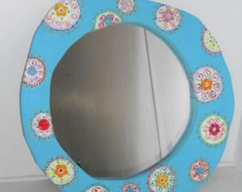mirror 'Sky blossoms' free form round color and blue