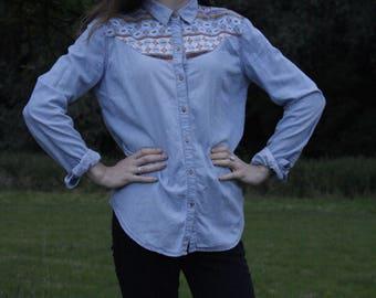 Retro Denim Shirt/ Colourfull printed detail/ size 10