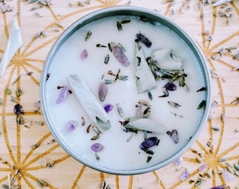 Lavender Candle / Dream Candle / Lucid Dreaming Spell Candle / Amethyst White Sage