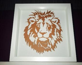 Lion sheet of paper cut