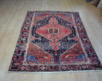 Vintage persian rug. Persian carpet. Vintage rug. Persian vintage carpet. Free shipping. 7.2 x 4.7 feet.