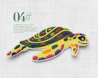 Sea Turtle Iron on patch/ Sea turtle Embroidery aquatic Patch/ Iron on marine organism patches/ iron on Turtle
