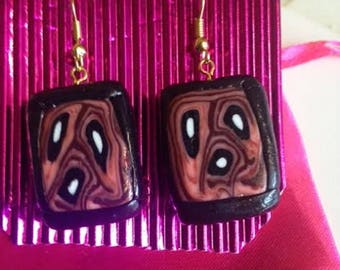 Abstract, The Scream, Earrings, Jewellery, Munch, Polymer clay