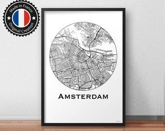 Poster Amsterdam Netherlands Minimalist Map - City Map, Street Map