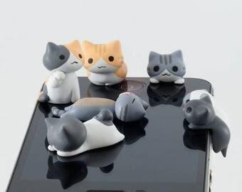6pcs Mini charm Resin Animal Cartoon Cat Cellphone Charms Earphone, Audio Headphone Anti Crown Dust Plug Mobile Phone Accessories Jewelry