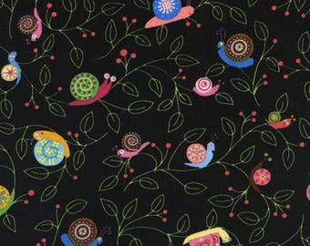 Timeless treasures C8805 snails black kids patchwork fabric