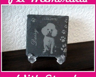 PET memorial Photo reproduction onto slate complete with stand Laser Engraved Stone