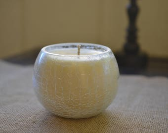 Clear Fractured Rosemary Vanilla Soy Container Candle - Home Decor Soy Candle