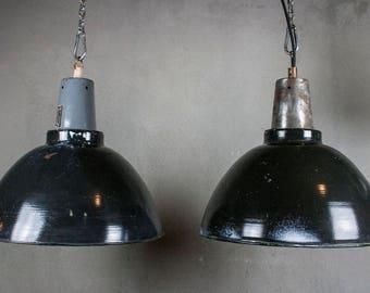 Black Enamelled Factory Shade Lamps, Industrial Pendant Lights