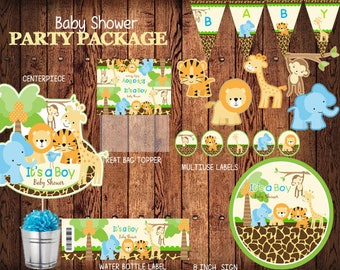 Safari Baby Shower, Digital  Party Package,  Printable Water Bottle Labels, Cupcake Toppers, Treat Bag Topper,