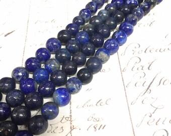 AA quality, Lapis Lazuli, Blue Beads, Round, 8mm, Full strand,