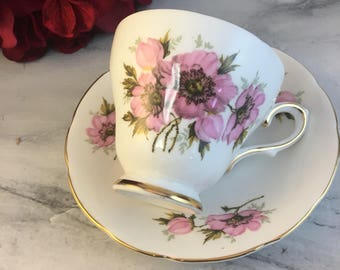 Royal Trent Pink Peonies Tea Cup and Saucer Fine Bone China Vintage England Made Lovely Dainty Flowers Excellent Floral