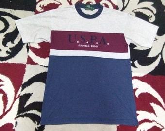 vintage u.s.polo assn t shirt colour block size m