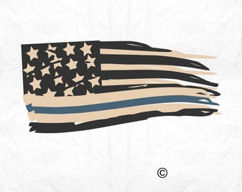 Flag thin blue line rustic SVG Clipart Cut Files Silhouette Cameo Svg for Cricut and Vinyl File cutting Digital cuts file DXF Png Pdf Eps