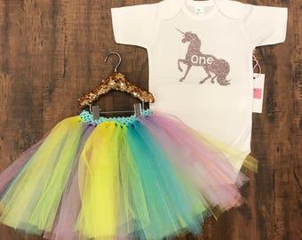 Unicorn first birthday tutu set rainbow outfit
