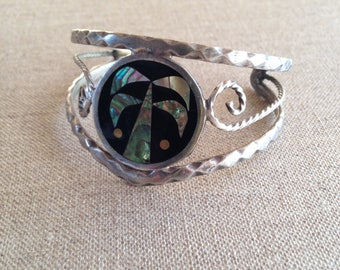 Vintage shell inlay cuff bracelet - bohemian jewellery