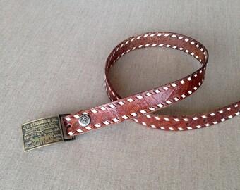Vintage tooled leather  belt - S