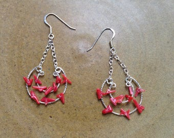 Vintage sterling silver and coral earrings