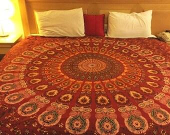 Red mandala tapestry,Mandala bedding,Mandala wall art,Bohemian wall decor,Bohemian tapestry,boho wall tapestry,hippie tapestry,wall tapestry
