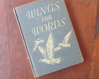 Children's Vintage Reader Wings For Words 1947 Child Experience Reader Grade School Book