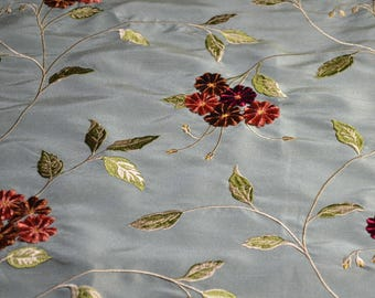 embroidered bluish/green faux silk fabric, home decor fabric, fabric, embroidered fabric, remnant