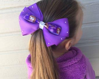 Sofia the first hair bow, sofia the first bow, sofia the 1st, purple har bow, disney hair bow, princess hair bow