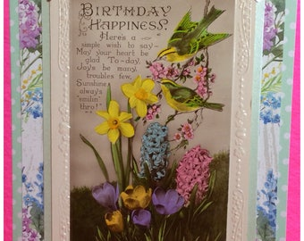 Vintage handmade birthday card, upcycled, collectable card, unique, collectible floral card, spring flowers, antique cards