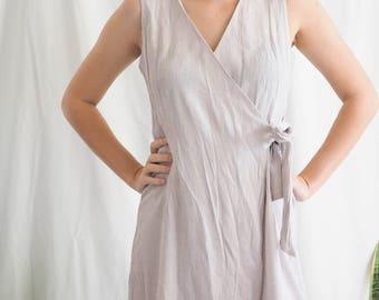 vintage wrap tie mini dress cotton linen