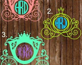 Carriage Monogram Decal / Monogrammed Carriage Decal / Carriage / Princess Carriage Decal / Princess Sticker / Monogram Carriage Sticker