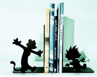 Calvin and Hobbes Metal Bookend, Perfect Metal Bookend, Metal Shelf, Comic  Gift,