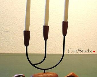 Vintage 60s candlestick string teak Danish