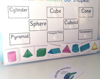 3D shapes matching learning sheet, KS2, homework aid, Educational toy, Children's development, Velcro backed, Interactive learning