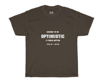 Mens Tee Shirt  Dalai Lama Optimistic White Print