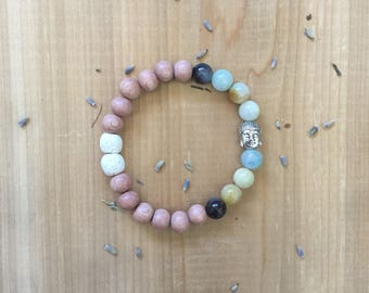 Essential Oil Diffuser Bracelet | Natural Matte Amazonite Beads | Natural Untreated Rosewood Beads | White Lava Rock Beads | Buddha Charm