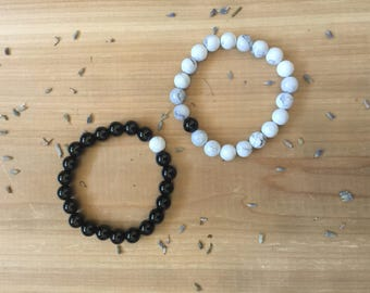 Couple Mala Bracelets | Him and Her Jewelry | Black Agate  |White Howlite |  Mala Beads | Yoga Bracelets