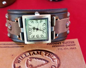 Watch with leather cuff