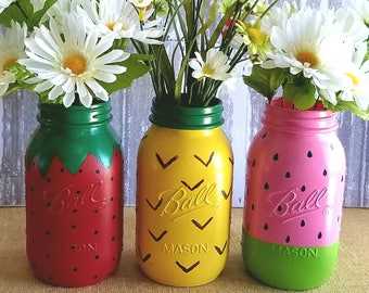 Summer Fruit Set, set of 3 quart size jars.  One watermelon,  one pineapple and one strawberry