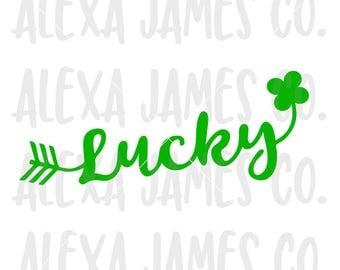 Lucky SVG, SVG Cut File, St Patricks Day svg, Clover, Arrow, Shamrock, Cricut, Silhouette, svg png pdf