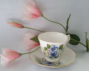 Royal Vale Blue and White Flowers, Cup and Saucer Set, Made in England
