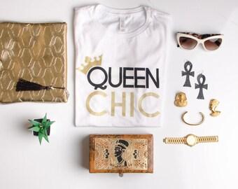 Queen Chic hand screen printed tee (white) Fashion Stylist Black Culture Black Pride Fashion Blogger
