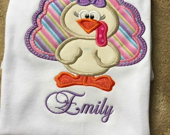 Girl Turkey Shirt - Personalized Fall Shirt - Personalized Name Shirt