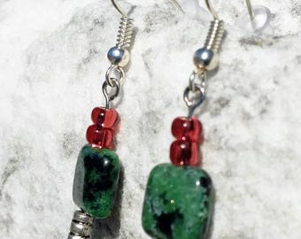 Ruby in Zoisite Dangle Earrings
