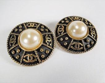 Vintage Chanel Earrings Faux Pearl w/Clip On Backs 35% OFF, designer jewelry, chanel jewelry,  couture jewlery, chanel earrings