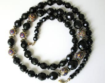 Vintage Cloisonne Black Beads Necklace