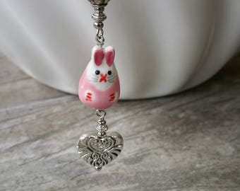 Bunny Purse Charm Clip | Rabbit Zipper Pull | Bag Bling | Scizzor Fob | Remembrance | Pink Dangle | Birthday Gift | It's a Girl Baby Shower