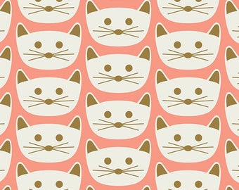 Art Gallery Knit - Cat Nap Pink - Blush - Dana Willard - Cat Cotton Jersey Fabric - Kitty Fabric - Cat Knit Fabric - Green Cat Pink Fabric