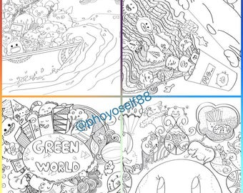 Doodle coloring page set of 04 - Random themes